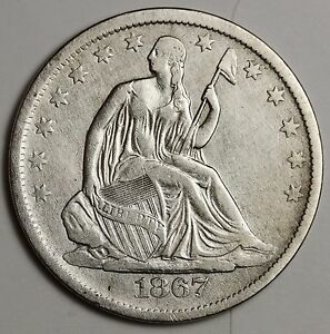 1867 S SEATED LIBERTY HALF.  ABOUT X.F.  111781