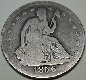 1856 SEATED HALF DOLLAR .900 SILVER KM A68 VERY GOOD FREE USA SHIP