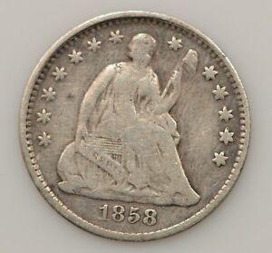 1858 P SEATED LIBERTY SILVER HALF DIME  G09
