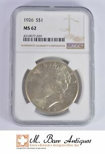 MS62 1926 PEACE SILVER DOLLAR   GRADED NGC  XC05