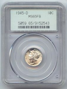 1945 D MERCURY DIME PCGS MS 65 FB FULL BANDS OLD THICK PCGS SLAB OGH