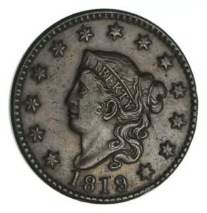 1819 MATRON HEAD LARGE CENT   CIRCULATED  1282