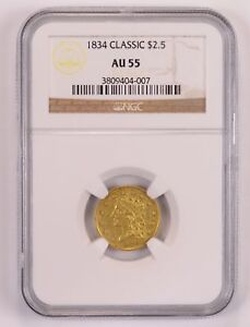 AU55 1834 $2.50 CLASSIC HEAD GOLD QUARTER EAGLE   NGC GRADED  1825