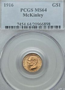 Click now to see the BUY IT NOW Price! 1916 MCKINLEY GOLD $1 PCGS MS 64 25  YEAR OLD HOLDER PQ