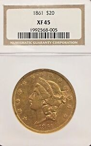 1861 LIBERTY HEAD $20 GOLD DOUBLE EAGLE GRADED XF45  BY NGC