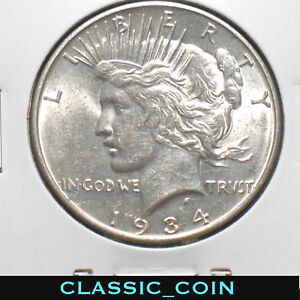 1934 D SILVER PEACE DOLLAR $1 UNCIRCULATED DETAILS  DATE