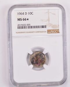 1964 D ROOSEVELT SILVER DIME   TONED   NGC GRADED MS66 STAR  1359