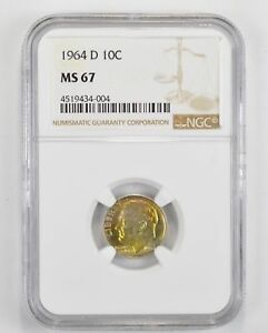 1964 D ROOSEVELT SILVER DIME   TONED   NGC GRADED MS67  1398