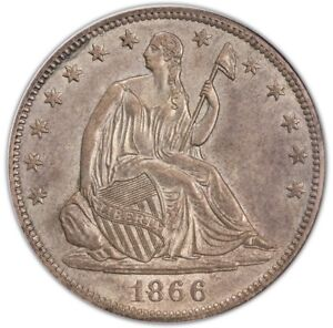 Click now to see the BUY IT NOW Price! 1866 S 50C NO MOTTO LIBERTY SEATED HALF DOLLAR PCGS MS63  CAC