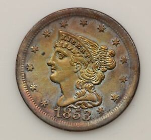 1853 BRAIDED HAIR LIBERTY HEAD HALF CENT  G20