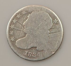 1834 CAPPED BUST SILVER DIME    GRAFFITI ON OBVERSE  G51