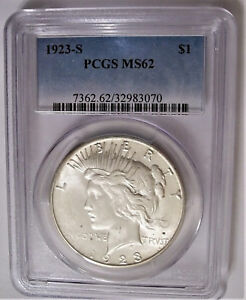 LOT OF ONE PCGS CERTIFIED MS62 1923 S  PEACE SILVER DOLLAR COIN