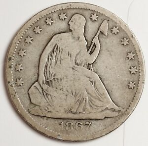 1867 S SEATED LIBERTY HALF.  V.G. 120440