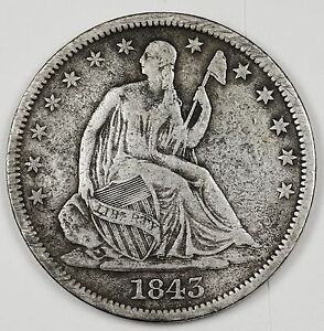 1843 O SEATED LIBERTY HALF.  ABOUT V.F.  99863