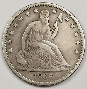 1866 S SEATED LIBERTY HALF.  NO MOTTO.  V.F.  120508
