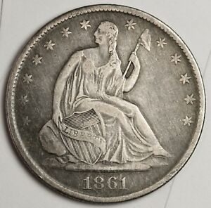 1861 O SEATED LIBERTY HALF.  CIVIL WAR ERA.  NATURAL X.F.  123731