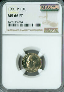 Click now to see the BUY IT NOW Price! 1991 P ROOSEVELT DIME NGC MAC MS66 FT PQ  POP 1 2ND FINEST REGISTRY SPOTLESS
