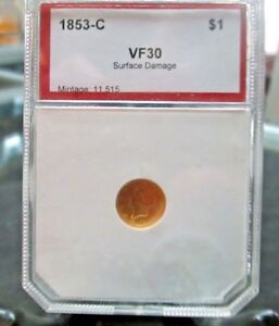 CHARLOTTE GOLD 1853   C  $1 LIBERTY HEAD GOLD COIN MINTAGE 11;515