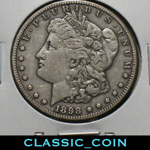 1898 S MORGAN SILVER DOLLAR $1 VF  DETAILS 120 YEARS OLD FREE S/H
