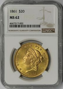1861 $20 NGC MS 62  CIVIL WAR ERA  LIBERTY HEAD GOLD DOUBLE EAGLE