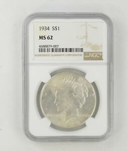 MS62 1934 PEACE SILVER DOLLAR   NGC GRADED  8523