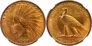 Click now to see the BUY IT NOW Price! 1907 INDIAN $10 GOLD EAGLE NO MOTTO VIBRANT SATINY CARTWHEEL LUSTER NGC MS63