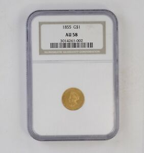 AU58 1855 INDIAN PRINCESS HEAD GOLD DOLLAR   NGC GRADED  6223