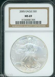 2005 AMERICAN SILVER EAGLE ASE S$1 NGC MS69 MS 69 PQ  BEAUTIFUL