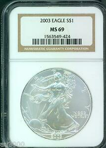 2003 AMERICAN SILVER EAGLE S$1 ASE NGC MS69 MS 69 PREMIUM QUALITY PQ