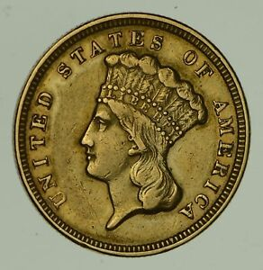 1856 $3.00 INDIAN PRINCESS HEAD GOLD THREE DOLLARS   CIRCULATED  0482
