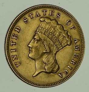 1874 $3.00 INDIAN PRINCESS HEAD GOLD THREE DOLLARS   CIRCULATED  0480