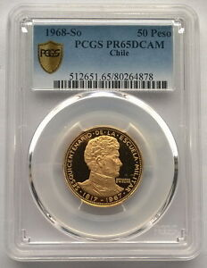 Click now to see the BUY IT NOW Price! CHILE 1968 MILITARY ACADEMY 50 PESOS PCGS PR65 GOLD COIN PROOF