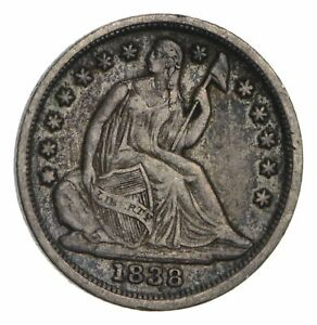 1838 SEATED LIBERTY HALF DIME   TYPE 2  CIRCULATED  3482