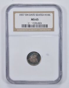MS65 1837 SEATED LIBERTY HALF DIME   NGC RAINBOW TONE   9801