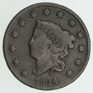 1824 MATRON HEAD LARGE CENT   4 OVER 2   CIRCULATED  3997