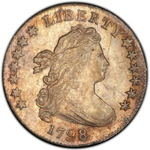 Click now to see the BUY IT NOW Price! 1798 10C LARGE 8 JR 4 DRAPED BUST DIME PCGS MS64  CAC
