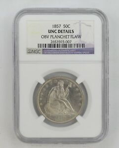 UNC DETAILS 1857 SEATED LIBERTY HALF DOLLAR   NGC GRADED  9005