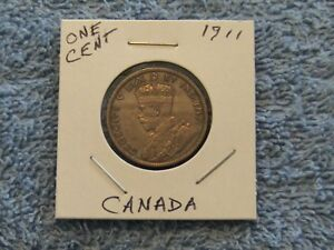 1911 CANADIAN LG. CENT NO WEAR ALL WORDS LEGIBLE  RIMS EVIDENT  SUPER CLEAN COIN