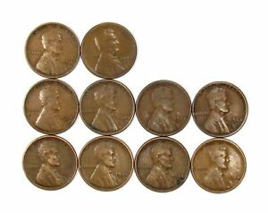 LOT OF 10 1924 S 1C LINCOLN WHEAT CENT PENNIES F FINE / F  FINE  135780