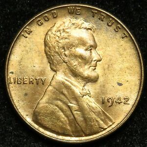 1942 UNCIRCULATED LINCOLN WHEAT CENT PENNY BU  B01