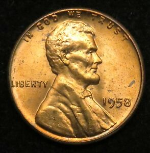 1958 UNCIRCULATED LINCOLN WHEAT CENT PENNY BU  B03