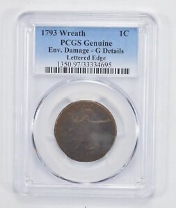1793 FLOWING HAIR WREATH REVERSE LARGE CENT   LETTERED EDGE   PCGS  2006
