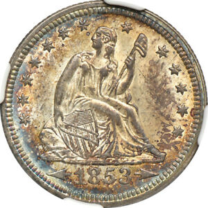 Click now to see the BUY IT NOW Price! 1853 ARROWS & RAYS SEATED LIBERTY QUARTER MS / MINT STATE 64 NGC 25C C24788