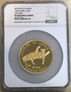 Click now to see the BUY IT NOW Price! 1996 ZAIRE PROOF GOLD 5 OZ. 10 000 ZAIRES. WILDLIFE OF AFRICA. LEOPARD. NGC PF68