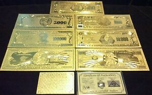 OFFER ? <FULL SET>10PC.LOT COIN GOLD$1BILLION $500 REP. BANKNOTES W/COA  FLAKE