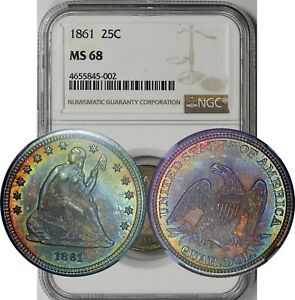 Click now to see the BUY IT NOW Price! 1861 25C NGC MS 68  RAINBOW COLOR TONE  LIBERTY SEATED QUARTER CIVIL WAR ERA