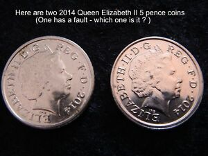 2014 QUEEN ELIZABETH 2ND 5 PENCE COINS IRB 4TH PORTRAIT AND MINT FAULT