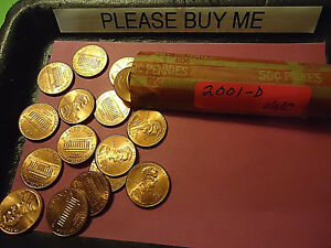 2001 D LINCOLN CENT UNC ROLL            WE COMBINE SHIPPING