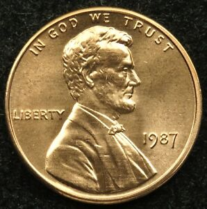 1987 UNCIRCULATED LINCOLN MEMORIAL CENT PENNY BU  B02