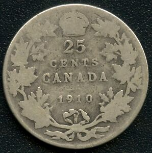 1910 CANADA 25 CENT COIN  5.83 GRAMS .925 SILVER